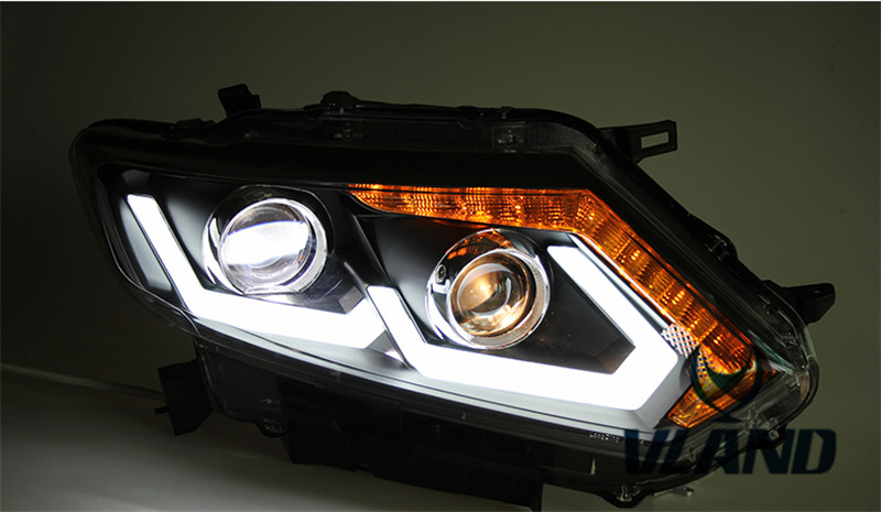 Vland Factory for car Head lamp For Nissan X-Trail LED headlight 2014-2016 front light with angel eyes plug and play design free shipping vland factory headlamp for volkswagen gol led headlight h7 xenon lamp with angel eyes led bar lamp plug and play