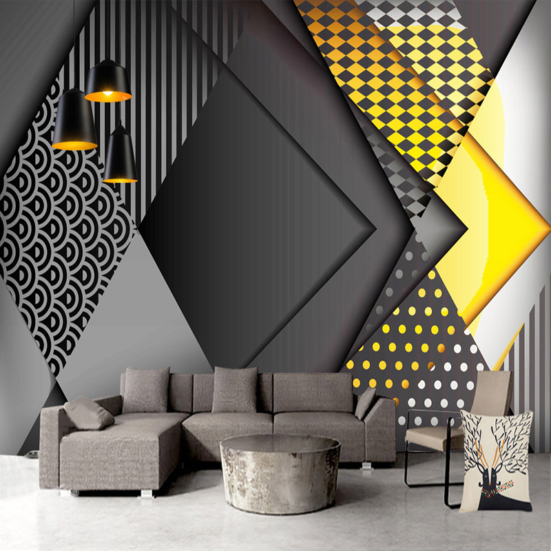 Custom Wallpaper 3D Nordic Geometric Pattern Mural Living Room Bedroom Creative Self-adhesive Waterproof Wall Sticker Home Decor