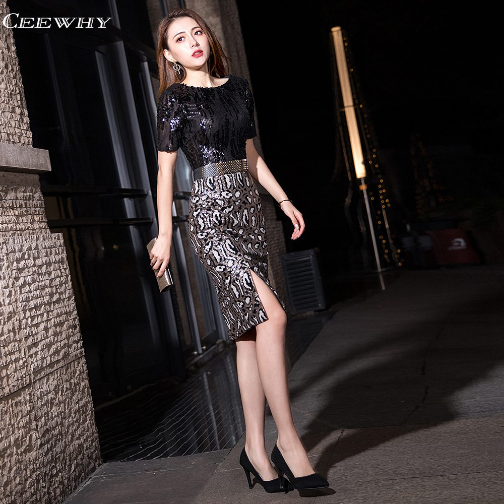 CEEWHY O-Neck Short Sleeve Prom Dresses 2019 Elegant Knee Length Cocktail Dresses Mermaid Sequin Formal Party Dress(China)