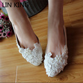 LIN KING Flats White Pearls Wedding Shoes Handmade Bride Dress Lace Ankle Pointed Toe Solid Flower Bridesmaid PU Lady Shoes