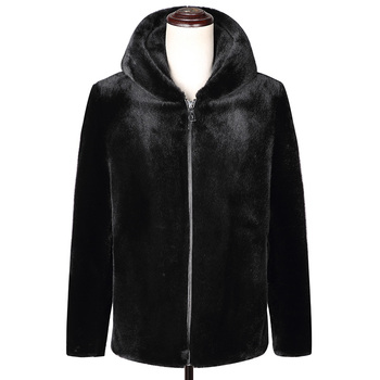 Q6 New Fashion Autumn and Winter Clothing 10% Mink Cashmere Coat Short-style Hooded Zipper Overcoat Men's Fur Coat