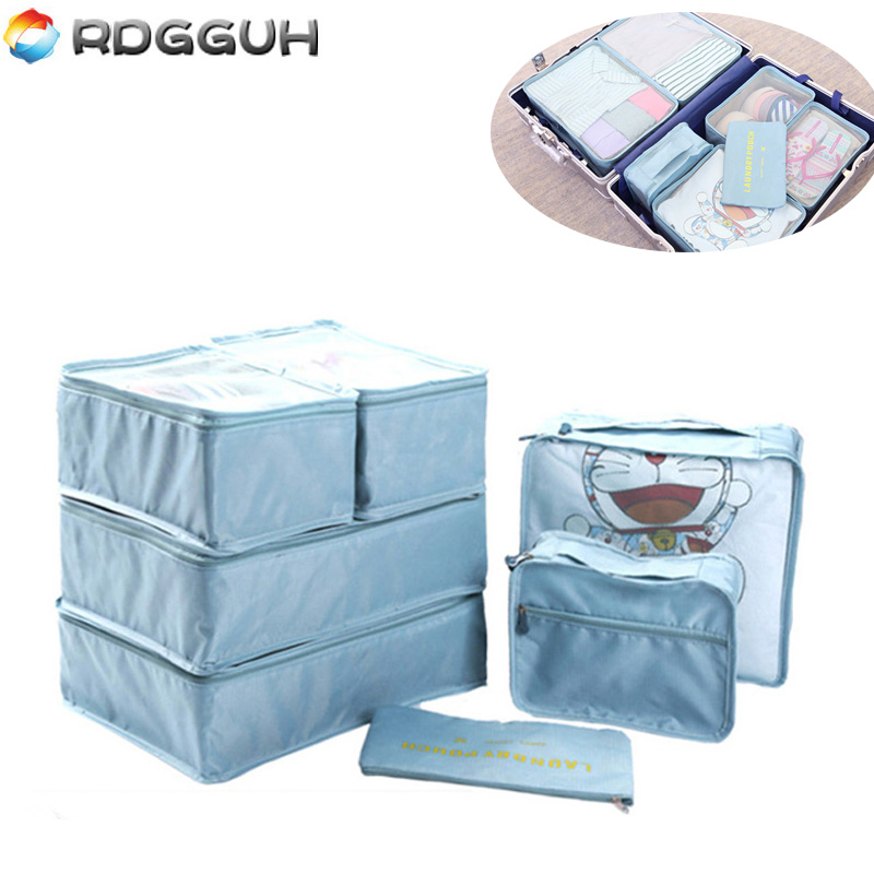RDGGUH 2018 New 7 pieces/set travel Oxford cloth high quality net bag clothes neatly folded bag cube organization laundry bags