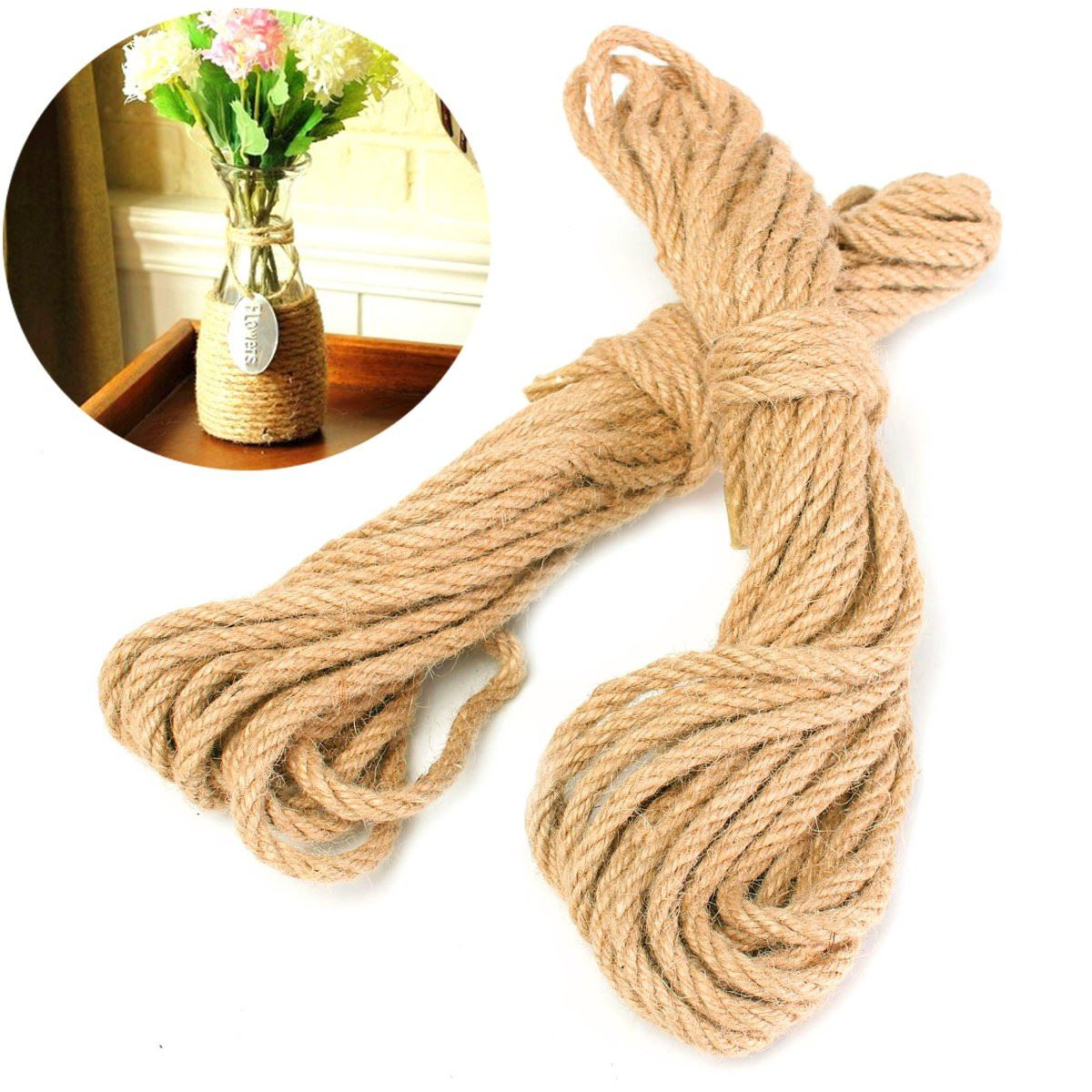 2x 10M Twisted Burlap Jute Twine Rope Thick Natural Hemp Cord Sisal Rope 6mm Craft Wedding Home House Tool Tools Part