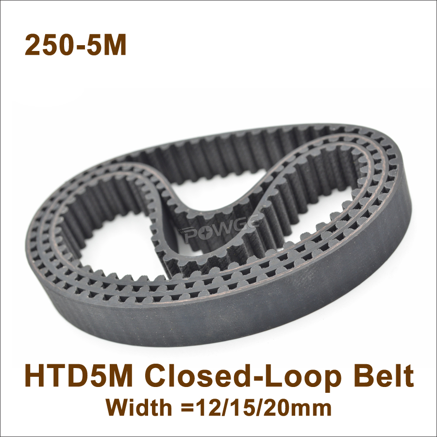 POWGE 250 5M Timing Belt Length=250mm W=12/15/20mm Teeth=50 HTD 5M Closed-Loop Synchronous Belt 250-5M <font><b>HTD5M</b></font> S5M Timing Pulley image