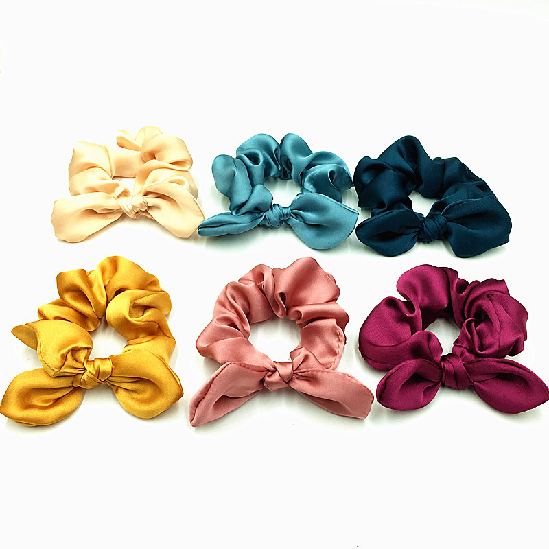 1PCS 6 Colors Satin Scrunchies Wholesale Ponytail Holder Elastic Hair Band Silk Scrunchie with Bunny Ear   Headwear   Hair Accessory