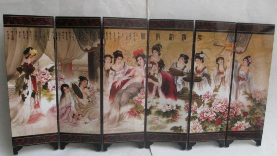Cina 6 blocco schermo Pieghevole concubina imperiale doccia Figura Ornamento regalo della decorazione