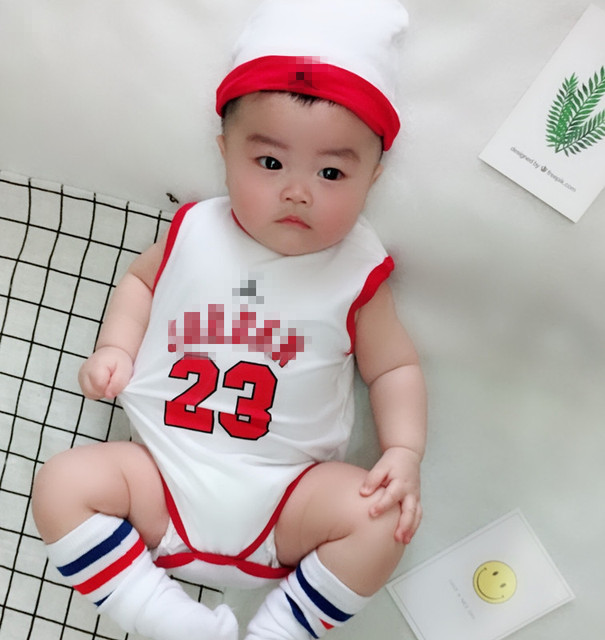 Toddler Baby Girl Boy Basketball Sets Baby sleeveles Triangle Climbing Bodysuits Hat Newborn Sport Clothes Cotton Clothing 2 Pcs