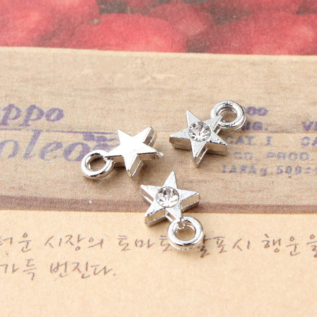 Free Shipping 100PCS Sliver Tone Star Floating Charms Bling Crystal  Rhinestone DIY Jewelry Findings Bracelet Necklace Pendants b9f6a7f83d5c