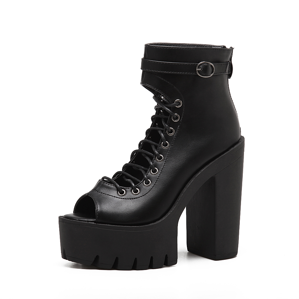 hongyi Women Gladiator Bandage Ankle Boots Peep Toe Cut Out Sandals Platform Thick Sole Bottom Block Ultra High Heel Shoes Pump stainless steel watch band 24mm for sony smartwatch 2 sw2 pin clasp strap wrist loop belt bracelet black silver spring bar