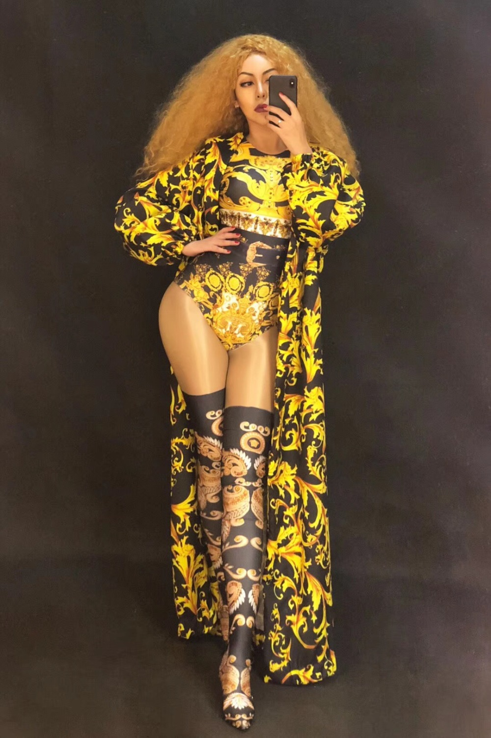 Imprimé bodysuit Sexy Costume Salopette Bodysuit Nightclub Body Porter Manteau Or amp; Chanteur Femelle Coat 3d Spectacle Stage Long Femmes Ds Dj Danseur g4RAq40