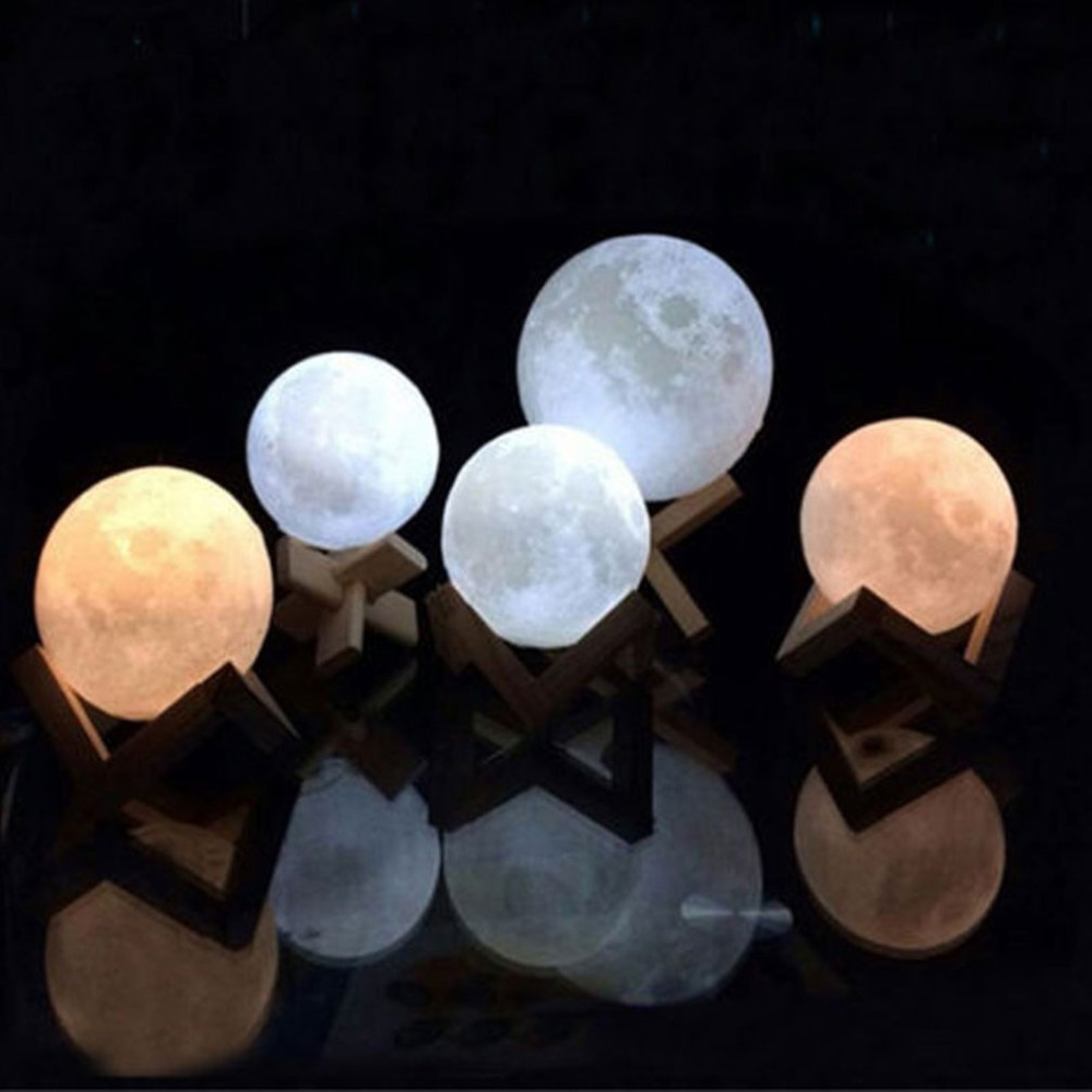 Moon Light For Bedroom: Rechargeable 3D Printing Moon Lamp 7 Color Change Touch