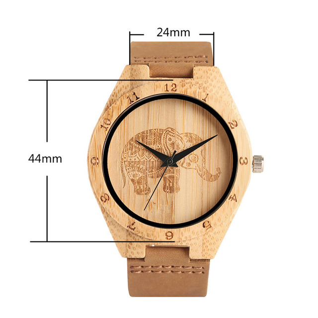 Mandala Bohemian Style Wooden Man Women Watches Exquisite Thailand Elephant Engraving Bamboo Wrist Watch Men Clock Xmas Gifts 1