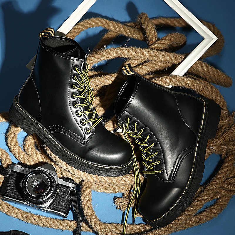 Kış yarım çizmeler Pu Deri Kadın Çizmeler Moda yarım çizmeler iş ayakkabısı Siyah Yuvarlak Ayak Dantel-up Kadın Ayakkabı Siyah Kadın Botları