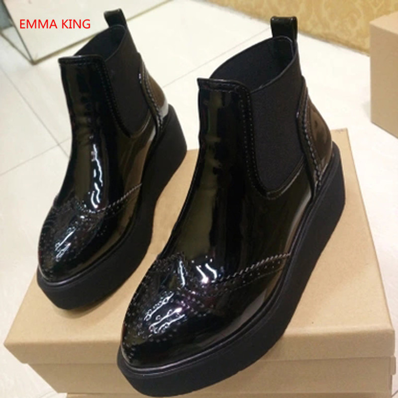 En Chelsea Pour Chaussures Dames Slip As Verni Bande Cheville Creepers Mode Picture Bottes Cuir forme Sur Shown D'hiver In Rihanna De Femmes Plate Élastique qHwXaOPw