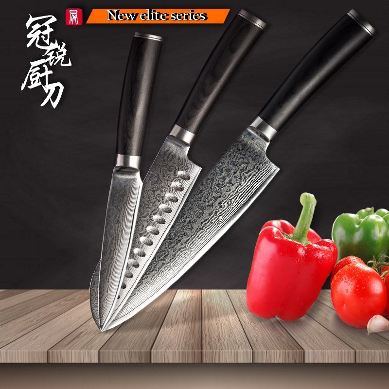 3 Pcs Damascus Kitchen Knife Sets Chef Santoku Paring Knife 67 Layers vg10 Japanese Damascus Steel Kitchen Knife Tool Grandsharp|Knife Sets| |  - title=