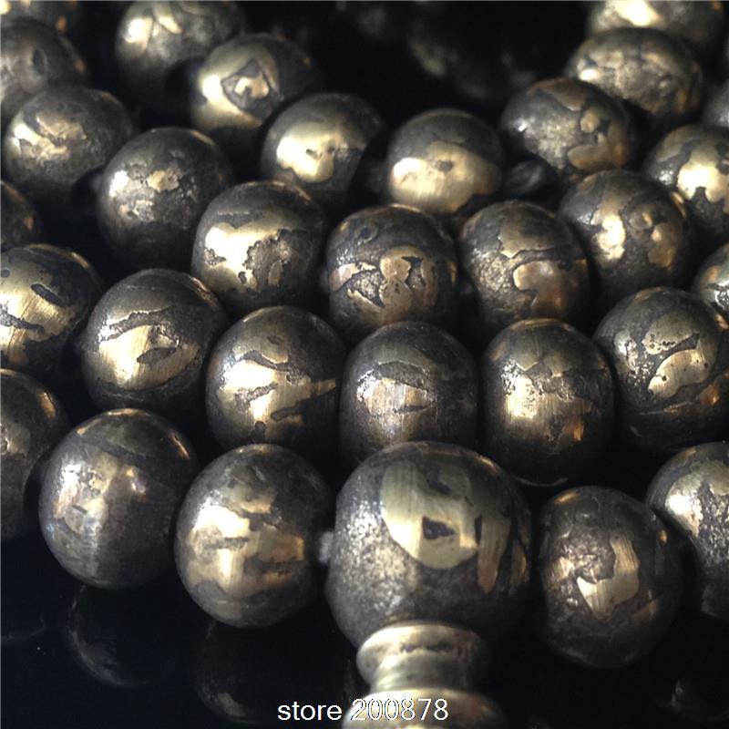 BRO778 Tibetan Buddhist 108 Solid Brass Beads Golden OM Mantras Rosary 8X6mmPainted OM mantras Prayer beads Mala,Free shipping natural purple aaa amethyst crystal 33 beads prayer beads islamic muslim tasbih allah rosary free shipping