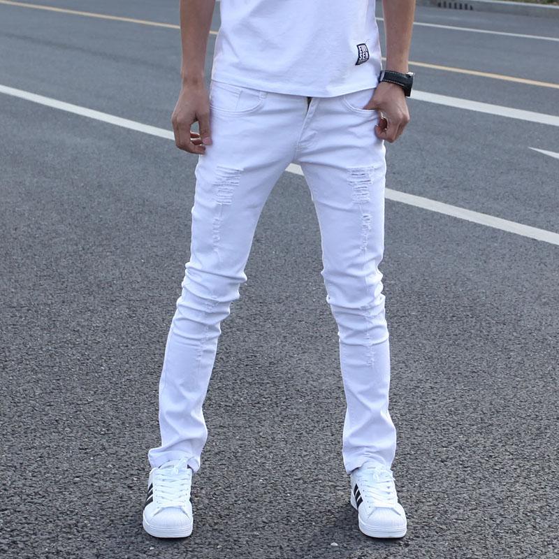 ea85fbcde Venta caliente Blanco Ripped Jeans Hombres Con Agujeros Súper Flaca famoso  Diseñador de la Marca Slim Fit Destroyed Torn Jean Pantalones Para  masculino en ...