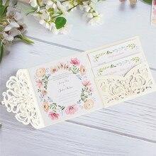 Custom wedding invitation floral insert card design tri-fold weeding pocket multi colors 50pcs