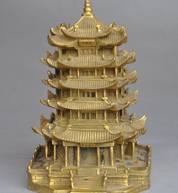 Chinois laiton Célèbre endroit Pittoresque Jaune grue tour Pagode Maison Bâtiment Statue
