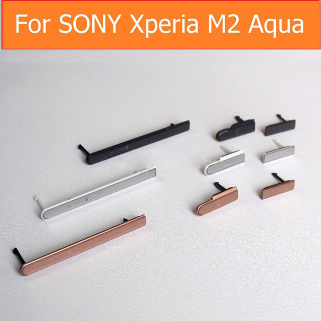 100% Original USB Charger Port Plug + Earphone + Micro SD & Sim cards Port Slot Cover for Sony Xperia M2 Aqua D2403 D2406