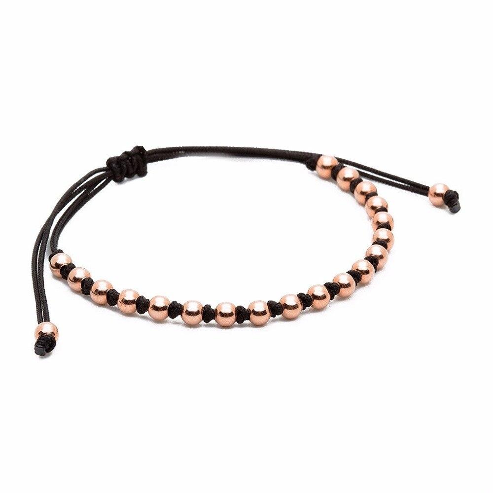 New design Black string rose gold bead bracelet saudi arabia jewelry