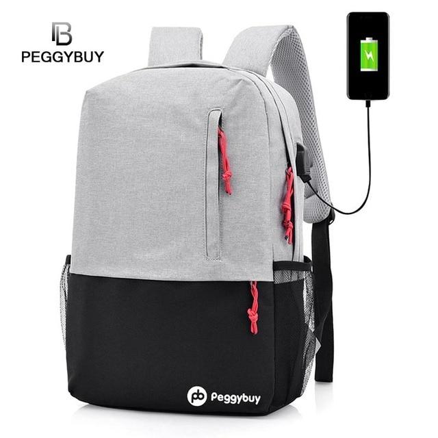 2ed1001ed7d4 USB Charging Backpack Unisex Laptop Antitheft Backpacks Back to School Canvas  Shoulder Bags for Teenagers Male Feminina Mochila