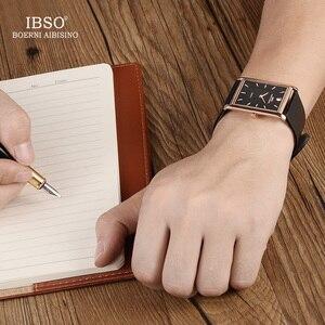 Image 2 - IBSO ultra cienki prostokąt Dial mężczyźni zegarki 2020 skórzany pasek kwarcowy zegarek klasyczny zegarek biznesowy mężczyźni Relogio Masculino