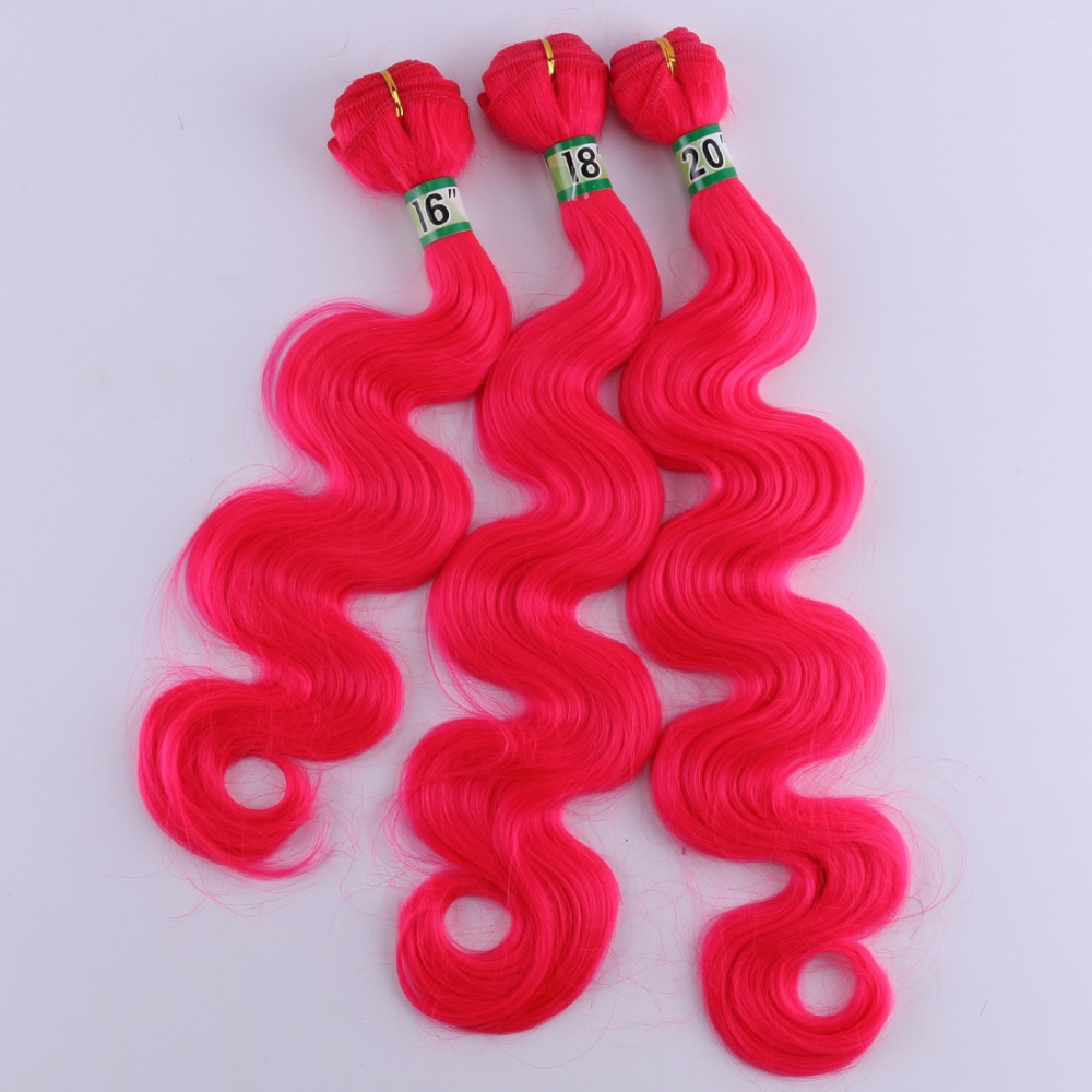 Synthetic-Hair-Extensions Hair-Bundles Weave-Hair Curly Pink Ombre Fiber 16-20-Inches