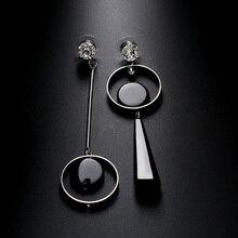 1 пара, специальные женские Асимметричные Стразы длинные серьги, черная акриловая подвеска, висячие серьги, ювелирное изделие, хороший подарок