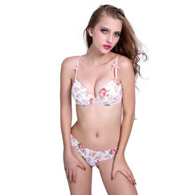 US $9.9 Flower Printed Bra Sets With Lace Everyday Bras Push Up Lingerie Underwear Women Intimates White Pink(China)