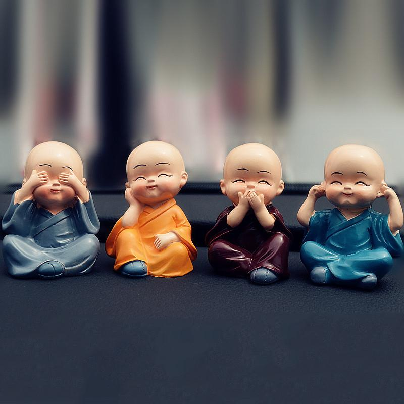 VORCOOL 4Pcs Four Little Cute KongFu Monk Car Interior Display Decoration Car Seat Ornament Home Lovely Decor Dolls car ornament cartoon doll adornment cute expression car decoration dashboard auto interior decor car accessories for gifts 7cm