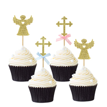 12pcs Gold Glitter Angel And Cross Cupcake Toppers Christening Baptism Cake Baby Shower Birthday Party Decors