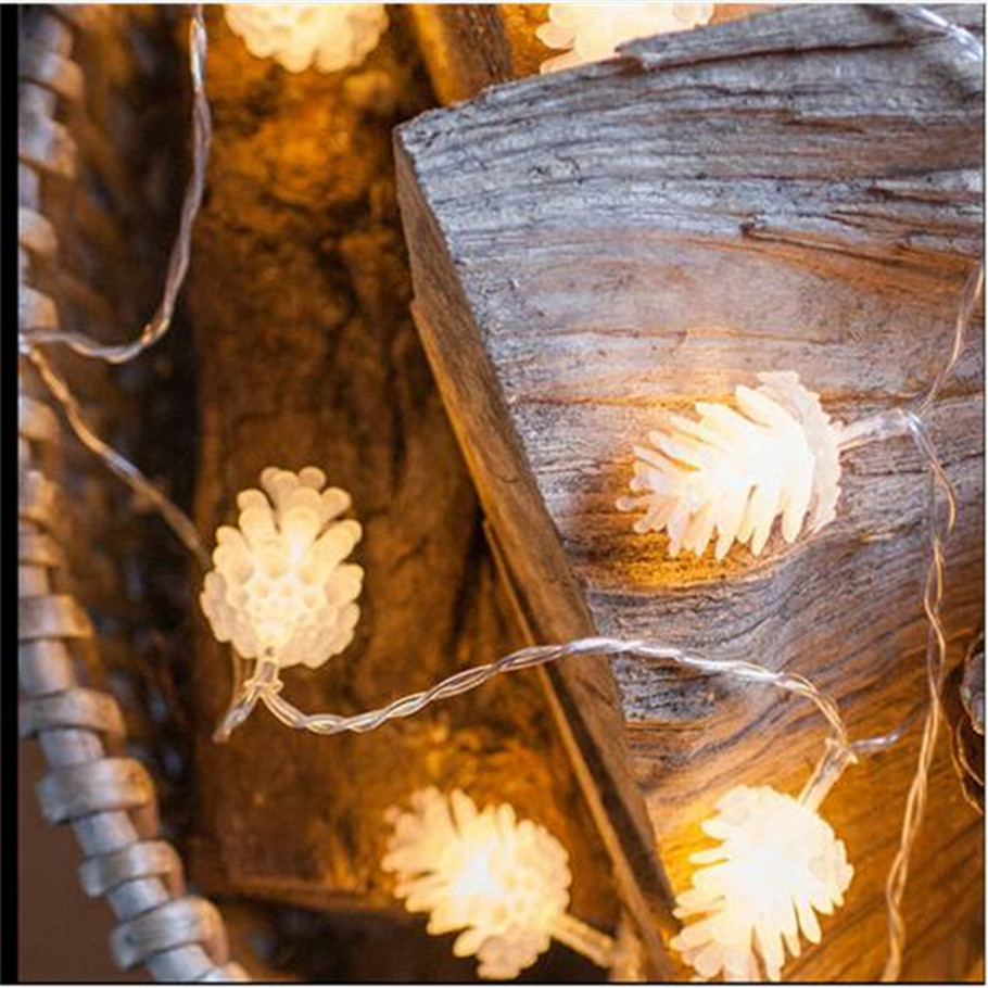 10LED fairy holiday pine cone garland LED lights on Battery Operated Long 5ft of lights for indoor outdoor use Xmas Party