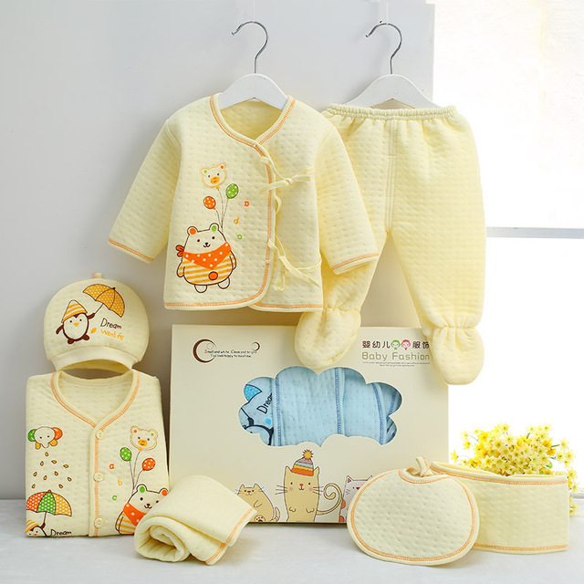 4d60a596eaa5f 7 PCS/set 0-6M Newborn Baby Clothing Set Baby Boy Girl Spring Clothing 100% Cotton  Cartoon Underwear Baby's Sets,Gift Box