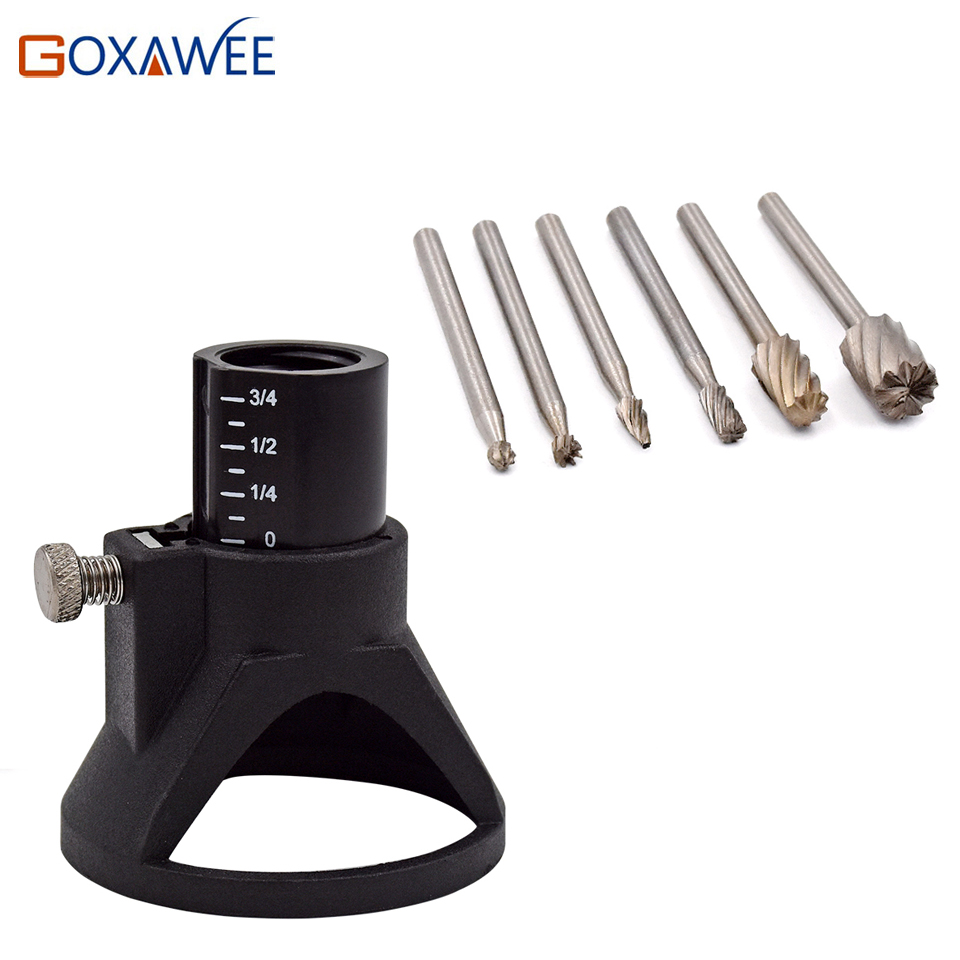 GOXAWEE Electric Hand Drill Power Tools Wood Milling Burrs Cutter Set 6pcs with Drill Dedicated Locator For Dremel Accessories 6pcs power drill