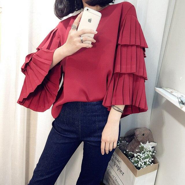 DDC001 Женщины моды Семь ретро красный Плиссированные рукава рубашки/брюки также на складе/же цене