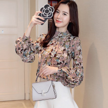 Long Sleeve Floral Blouse Women Korean Style Lantern Sleeve Chic Chiffon Shirt Ladies Elegant Stand Collar Vintage Blouse Autumn chic black polo collar long sleeve blouse for women