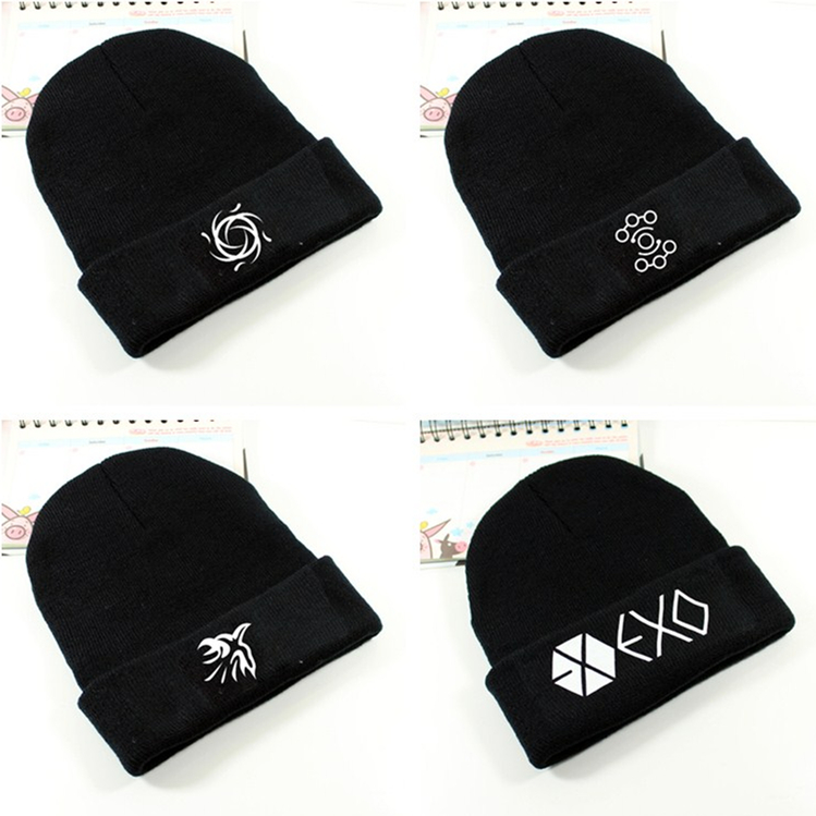 Kpop exo Unisex 2016 new winter warm wool knitted hat Zodiac Vogue exo k-pop korea Pullover pair of Skullies coverage caps css clear crystal glass cabinet drawer door knobs handles 30mm