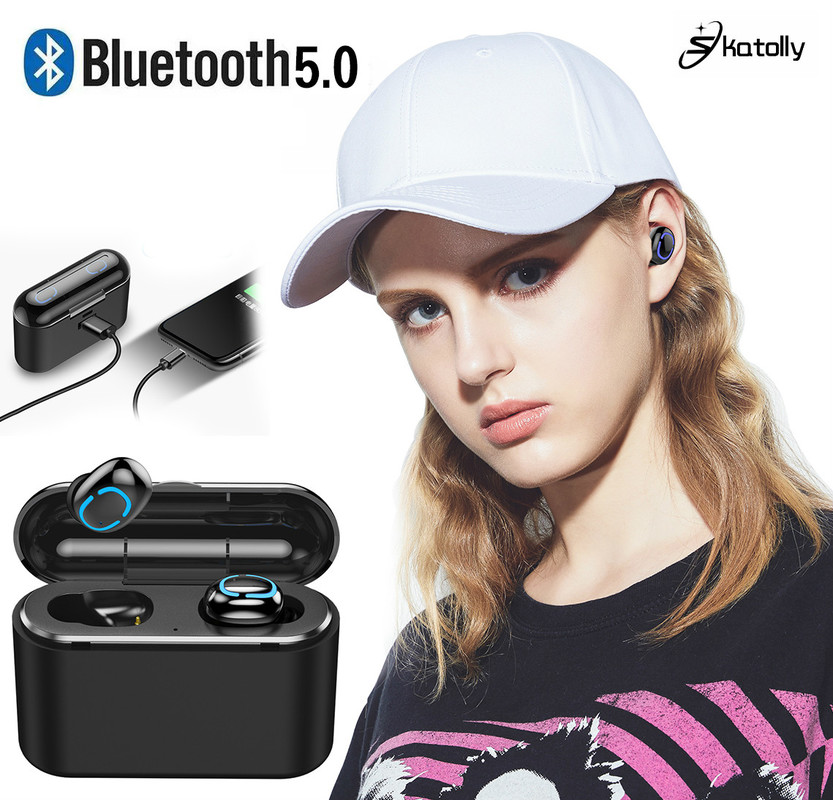 HBQ-Q32 TWS Bluetooth Earphone Handsfree Wireless Earphone with Mic Sport Earbud Stereo Waterproof Gaming Earphone Power Bank