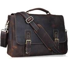 2017 Brand Fashion Genuine Leather Briefcases Men Designer Laptop Shoulder Bag Versatile Vintage Cowhide Handbag Male Best Gift