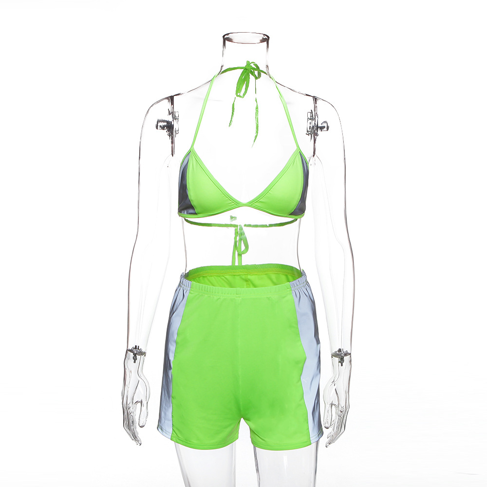 Simenual Casual Fashion Women Two Pieces Set Reflective Sexy Patchwork Tracksuits Summer Hot Bralette And Shorts Sets Fitness 4
