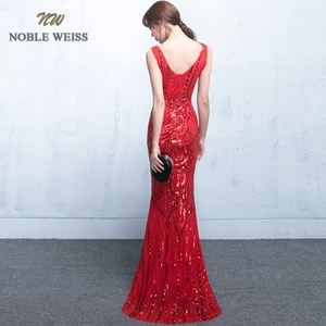 Image 2 - evening dresses 2019 sexy v neck mermaid balck/blue/red sequin women formal dress floor length in stock evening gown