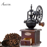 Asipartan 1pcs Coffee Grinder Ferris Wheel Design Ceramic Movement Retro Wooden Manual Coffee Grinder Home Decoration