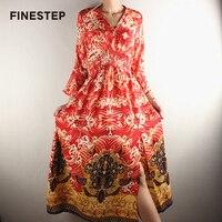 V Neck Red Dress long Women Silk Dress Designer Brand Luxury Women Dress Summer Women Dress High Quality 2018