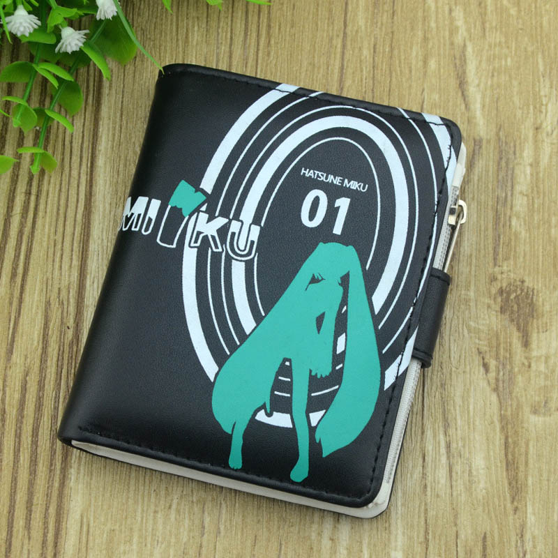 Anime Hatsune Miku PU Black Short Zero Wallet High Quality Purse With Interior Zipper Pocket Button Style Money Bag