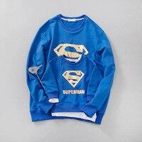 Combinando Roupas da família Entre Pais e filhos Criança Olhar T Superman Outono Pai Mãe Filhos Dos Desenhos Animados Outfits New Cotton hoodies Queda Livre