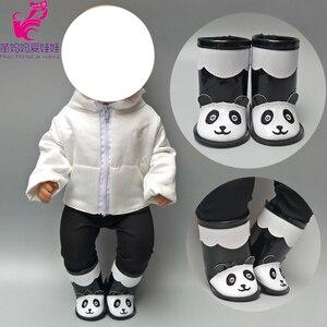 Zapatos para bebés recién nacidos, botas de oso bonito, zapatos de muñeca bebé, tops altos de muñeca de 18 pulgadas, zapatos de muñeca, Botas de lluvia