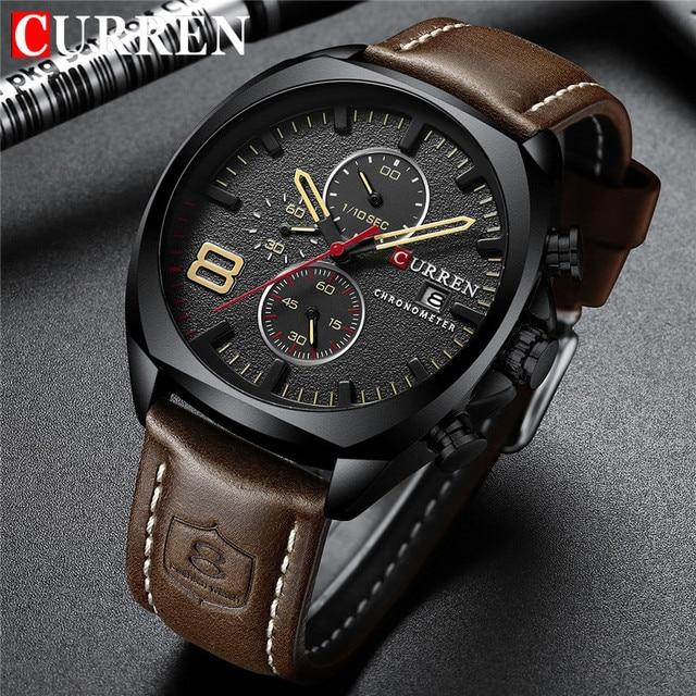 CURREN 8324 Relogio Masculino กีฬานาฬิกาผู้ชายแบรนด์หรูผู้ชาย Chronograph วันที่ทหารนาฬิกากันน้ำ