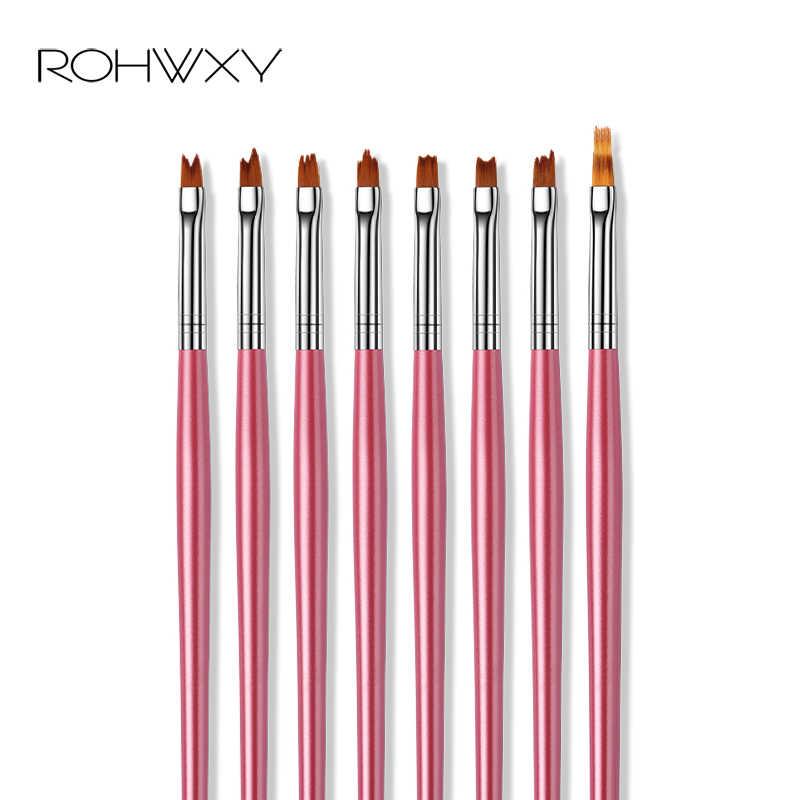 ROHWXY UV ג 'ל מברשת ליינר ציור עט אקריליק ציור מברשת ציפורניים מברשת עבור Polygel שיפוע ידית מניקור נייל אמנות כלי