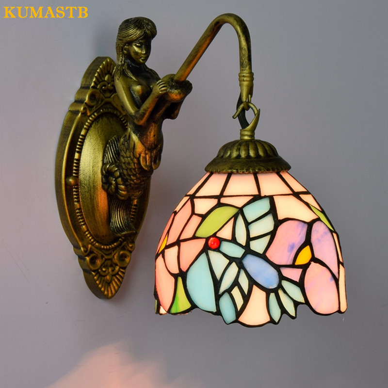 Tiffany European Vintage Stained Glass Mirror Light Iron Mermaid Wall Lamp Indoor Lighting Bedside Lamps Wall Lights for Home tiffany shell vintage stained glass iron mermaid wall lamp indoor lighting bedside lamps wall lights for home ac 110v 220v e27